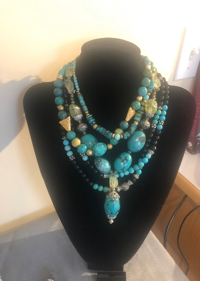 Gorgeous green blue gold tribal necklace image 0