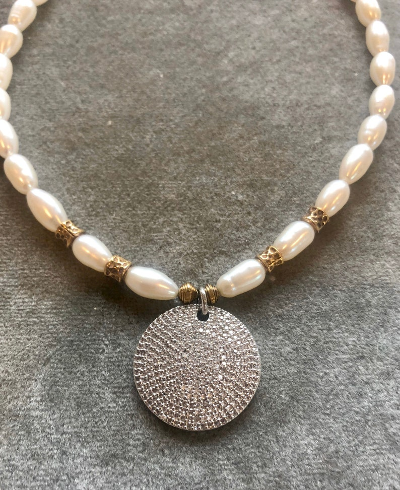 Silver pavé disc on freshwater pearl necklace image 0