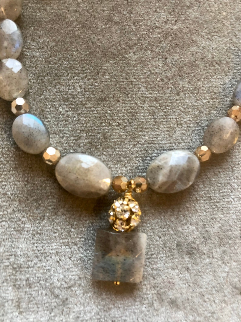 Labradorite necklace with gold Czech crystals and gold plated image 0