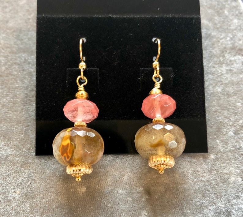 Set of cherry quartz earrings with 14 kt gold filled beads image 0