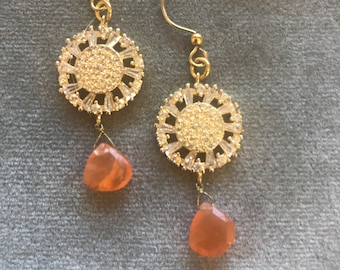 Sunny gold and orange drop earrings