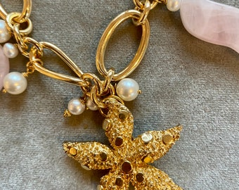 Vintage golden starfish necklace