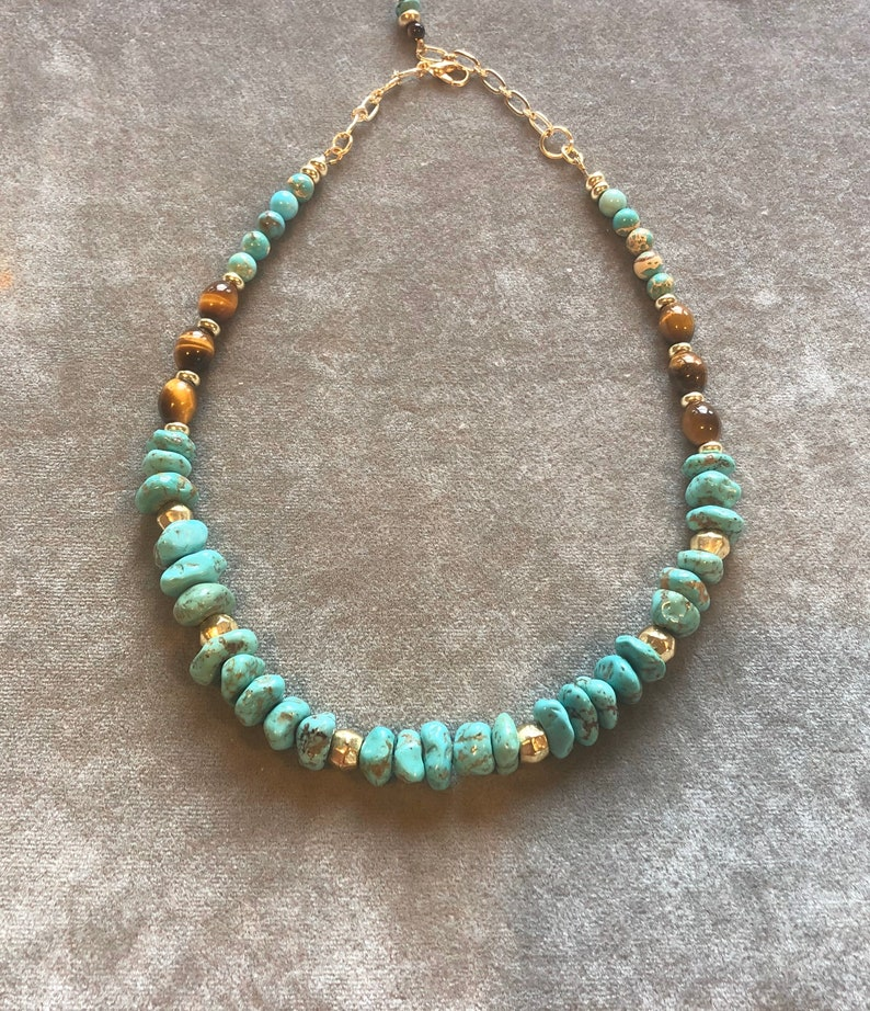Turquoise and tigers eye necklace image 0