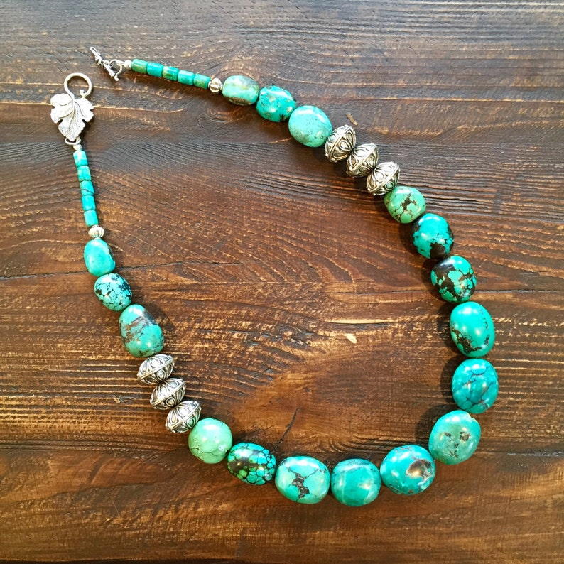 Super large gorgeous turquoise and silver necklace image 0