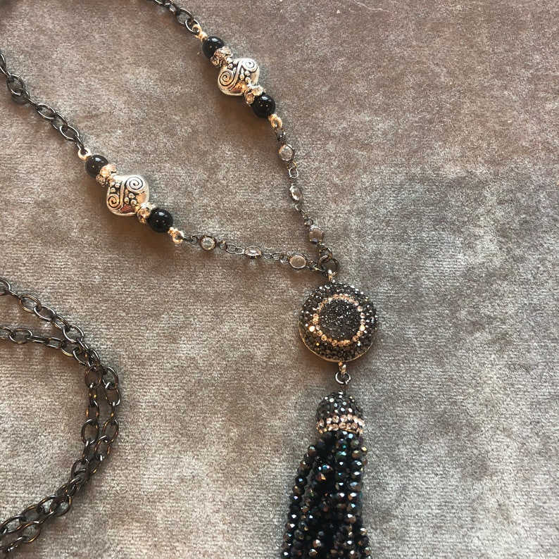 Black And SIlver Tassel Necklace image 0