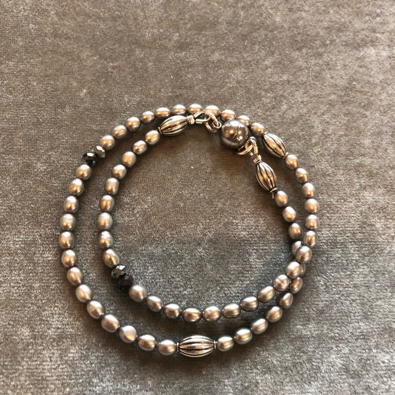 Tiny silver pearl double bracelet image 0