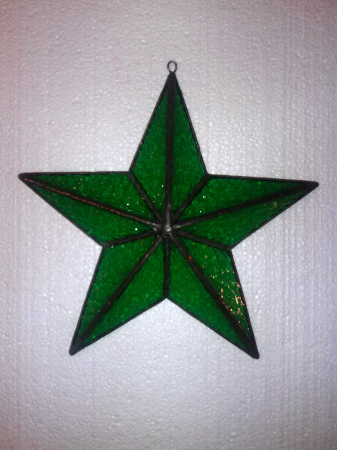 Christmas tree topper 3D barn star in GREEN stained glass | Etsy