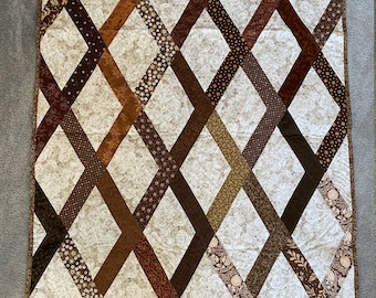 Brown and Cream Lattice Quilted Wall Hanging