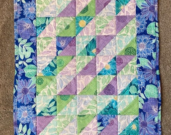 Blue and Green Quilted Table Runner