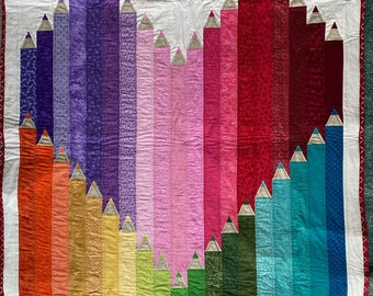 Crayon Heart Quilted Wall Hanging or Lap Quilt