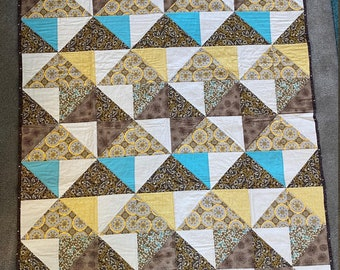 Tan, Blue and Cream Quilted Wall Hanging