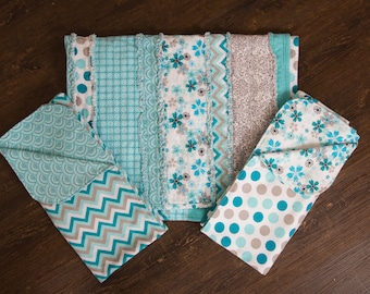 Flannel Baby Gift Set Rag Quilt and Receiving Blankets