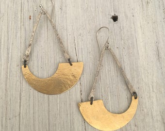 brass and silver geometric earrings ~ long and lightweight earrings
