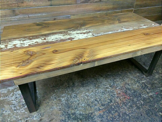 Reclaimed Wood Coffee Table Desk Dining Table With Metal Legs Etsy