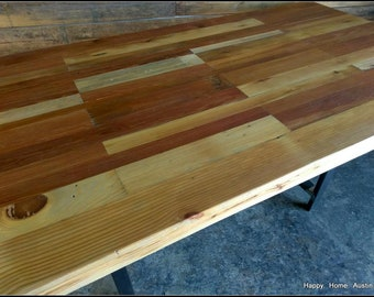 Reclaimed Wood Dining Table // Desk // Light Patchwork Stains
