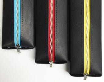 Leather Pencil Case with Yellow Zipper