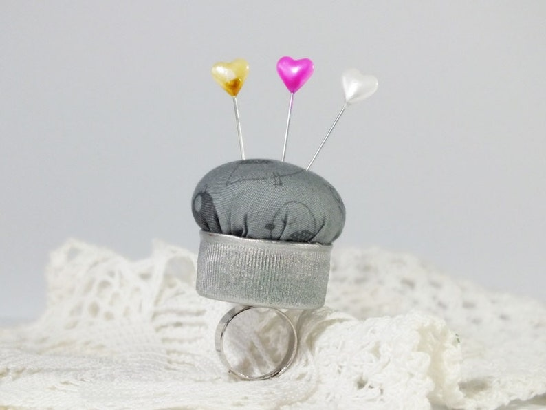 gray pincushion ring upcycled bottle cap gray cotton  little image 0