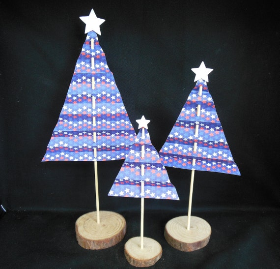 Patriotic Christmas Trees.Patriotic Paper Trees Assortment Set Of 3