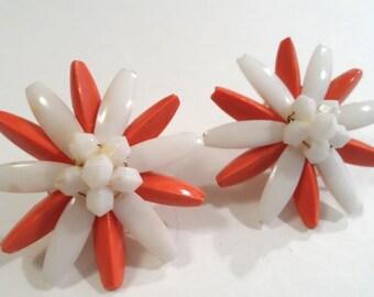 Vintage Orange and White Lucite Flower Earrings Clip On Earrings Lucite Jewelry Flower Jewelry