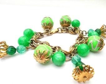 Vintage Green Lucite Bead Bracelet Jade Green and Lime Green Lucite Bead Charm Bracelet Vintage Cha Cha Bracelet