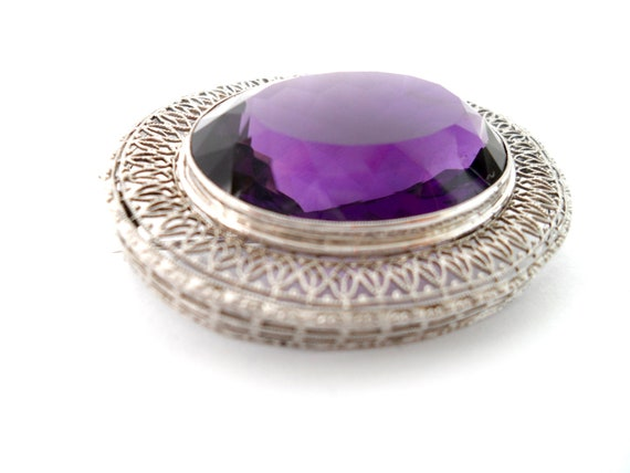 Victorian Amethyst and 14Kt White Gold Filigree B… - image 2