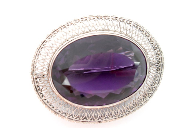 Victorian Amethyst and 14Kt White Gold Filigree B… - image 8