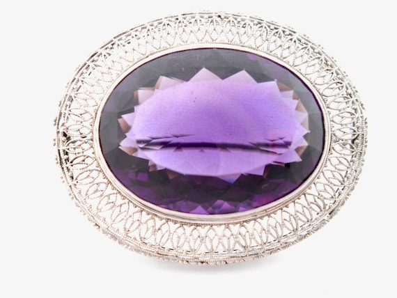 Victorian Amethyst and 14Kt White Gold Filigree B… - image 7
