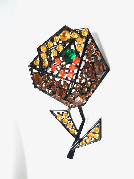 Vintage Art Rhinestone Flower Brooch Pin Large Cubist Style Japanned Art Deco Style 1950s Art Jewelry Multi Colored Rhinestone Brooch