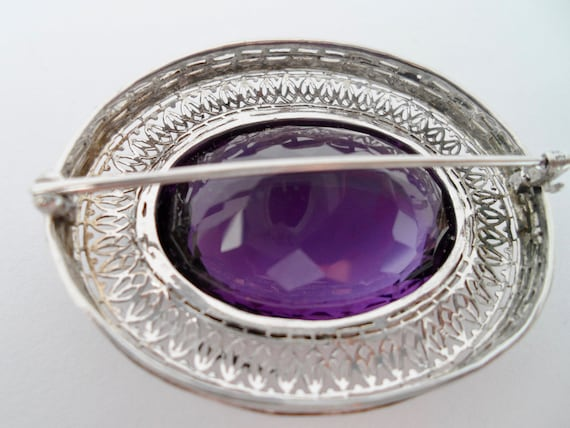 Victorian Amethyst and 14Kt White Gold Filigree B… - image 9