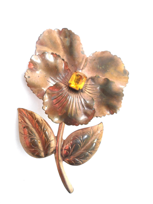 Vintage 60/'s. Large Copper Flower Brooch Burgundy Red Pink /& Blue Flower Enamelled