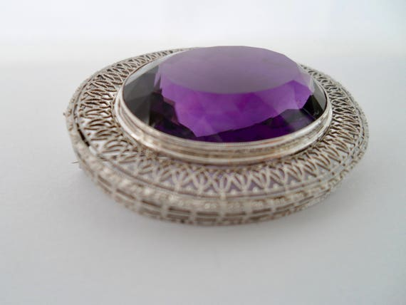 Victorian Amethyst and 14Kt White Gold Filigree B… - image 5
