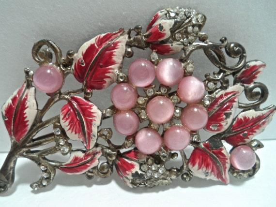 Vintage 1930s Fuchsia Pink Enamel and Pink Moonsto
