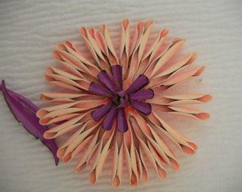 Large Vintage Funky Flower Power  Pink and Purple Enamel Flower Brooch