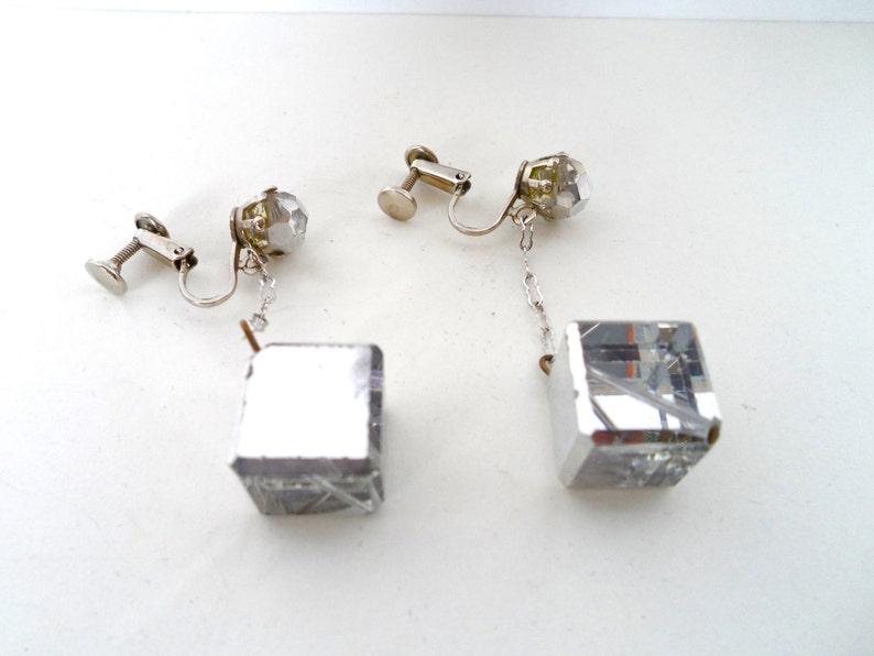 Mid Century Mod Mirrored Crystal Cube And Rhinestone Dangle Earrings Earrings Screw Earrings 1960s Mod Style Vintage Dangle Earrings
