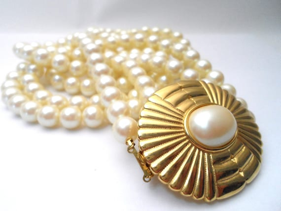 Vintage Richelieu Double Strand Faux Pearl Necklace With Large Etsy