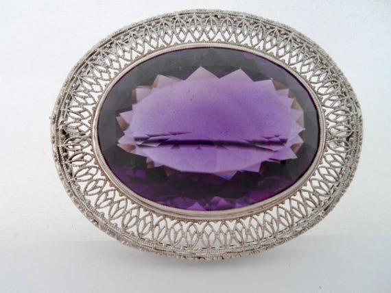 Victorian Amethyst and 14Kt White Gold Filigree B… - image 4