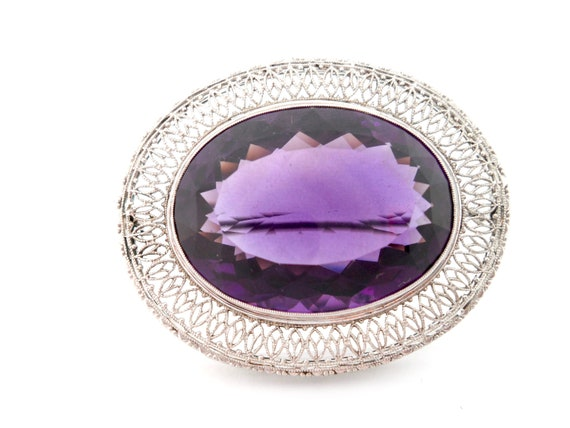Victorian Amethyst and 14Kt White Gold Filigree B… - image 1