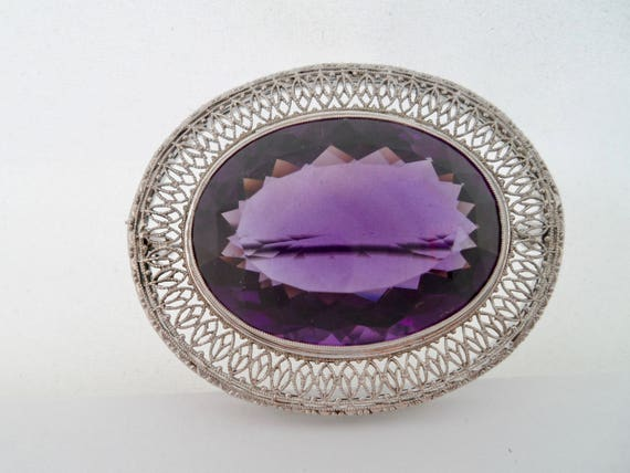 Victorian Amethyst and 14Kt White Gold Filigree B… - image 3