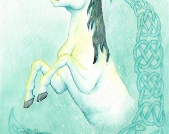 Kelpie Rising - Original Watercolor and Colored Pencil