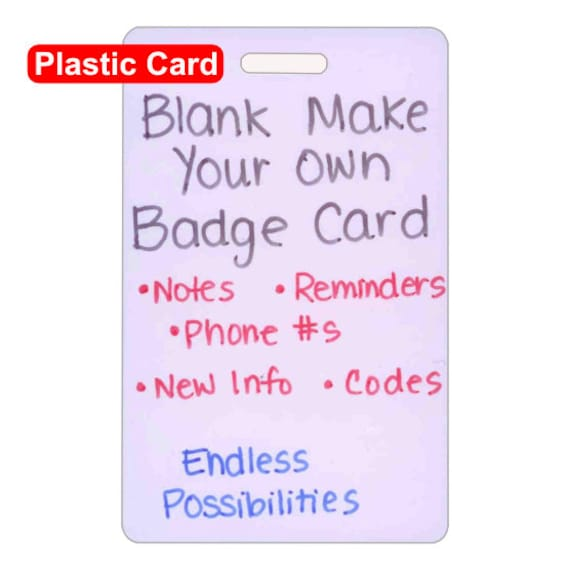 blank plastic make your own badge card vertical for nurse etsy