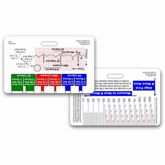 Ecg pocketcard array ekg ruler badge pocket card horizontal for nurse paramedic emt etsy rh etsy fandeluxe Images