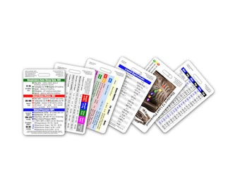 Mini CNA / NA / Nursing Assistant Vertical Badge Card Set - 6 Cards - for ID Badge Clip Strap Reel Reference Cheat Sheet Pocket Guide