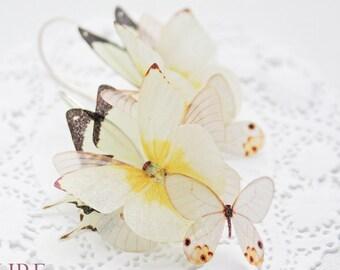Butterfly earrings, long butterfly earrings, dangle earrings, bridal earrings, yellow butterfly earrings, ivory butterfly earring, butterfly