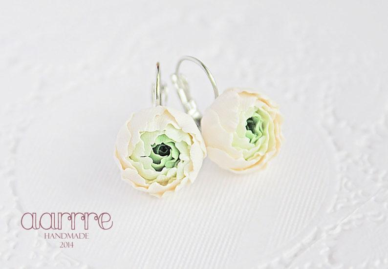 a99bc17b2 Fresh floral earrings green flower earrings ivory flower | Etsy