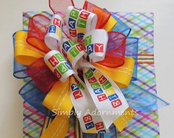 Happy Birthday Gift Bow Red Blue Yellow Hero Birthday Bow Superhero Birthday Party Decor Funky Birthday Gift Bow Door Hanger Birthday bow