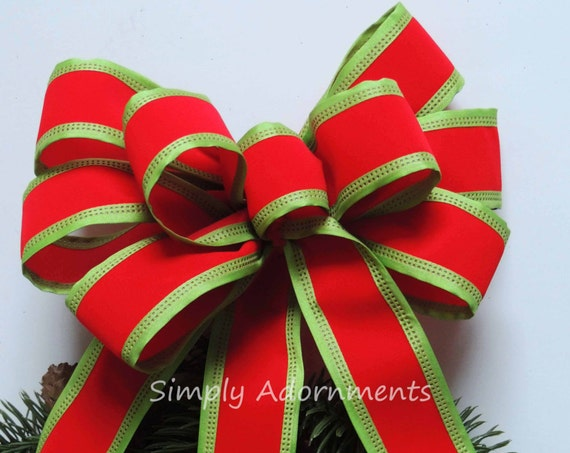 Red Lime Christmas Bow Red Lime Gift Bows Christmas Gift Bow Red Green Christmas Ornament Bows Christmas Tree Decor  Bow Christmas Door Bow