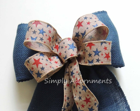 Rustic Burlap Fourth of July Wreath Bow Red White Blue Patriotic Burlap Swag Bows July 4th Door hanger Bow Rustic Patriotic Home Decoration