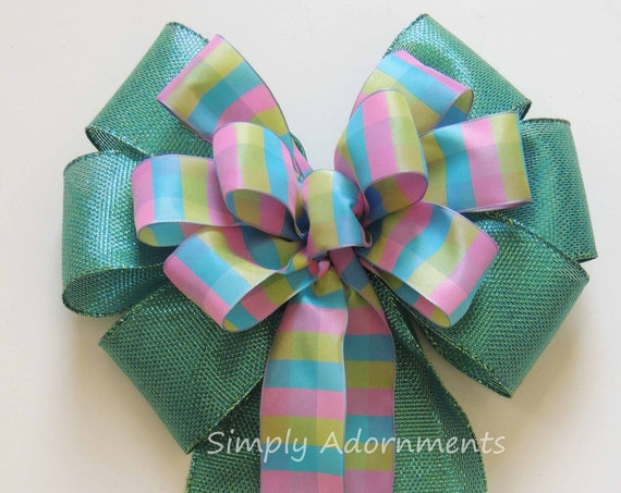 Teal Turquoise Pink Plaid Bow Spring Plaid Wreath Bow Teal Green Turquoise Plaid Wedding Bow Birthday party decor Easter Basket Gift Bow