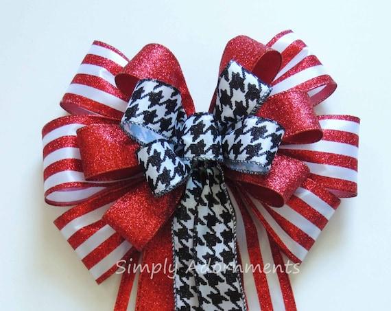 Red Black Houndstooth Bow Red Black Houndstooth Wreath Bow Black Red Door Wreath Bow Alabama Football Red Black Houndstooth Door hanger Bow