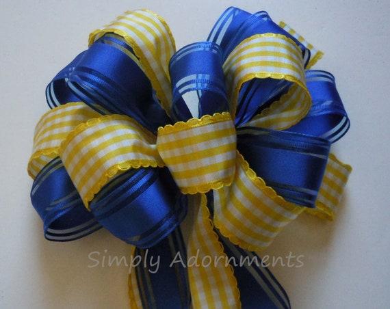 Blue Yellow Graduation Party Decor Royal Blue Yellow Wedding Pew Bow Blue Yellow Church Aisle Pew Bow Decor Royal Yellow Bridal Party Decor